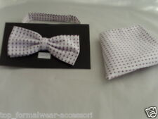( 002 ) New -White with Purple Polka Dots -100% Silk Mens Bow Tie and Hankie Set