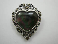 Sterling Silver Marcasite Shell Heart Brooch Pin