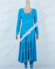 Star Trek Commander Deanna Troi Blue Long Dress Costume Halloween Great Quality