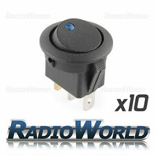 10x Blue LED Round Illuminated Rocker Switch Car dash light ON/OFF 12v