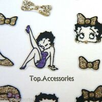 3D Gold/Purple Sparkly*Betty Boop*Design Nail Art Decals Stickers#07072 Free P&P