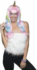 Womens Unicorn Wig Gold Horn Long Pink Rainbow Hair Halloween Costume Adult NEW