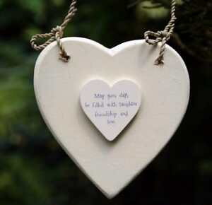 White wooden hanging heart - May your days be filled ideal gift 463 EOI