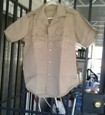 NOS  US ARMY MEN'S TAN 445 KHAKI SHORT SLEEVE SHIRT DURABLE PRESS  MEDIUM