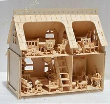 Dollhouse Miniature DIY Kit Wood house Toy 1 24 Scale Wood Doll house …
