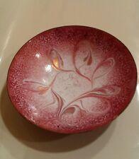 Vintage Solid Copper Bowl Red White Enamel Paint Mottled Swirl Copper Highlights