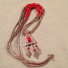 Vintage Native American Sterling Silver Red Coral Bell Arrow Pendant Necklace