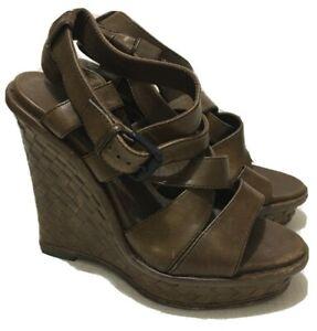 BOTTEGA VENETA - Brown - Intrecciato Leather Espadrille Wedge Sandals - Sz 38.5
