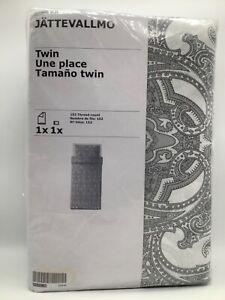 IKEA JATTEVALLMO Twin Duvet Cover + Pillowcase Bed Set Paisley Gray - NEW