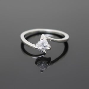 GENUINE REAL SOLID 925 STERLING SILVER 5MM SIMULATED DIAMOND LOVE HEART RING