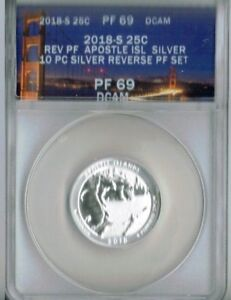 2018-S San Francisco Silver Reverse Proof PF69 Apostle Island (WI) 25 Cent Coin!