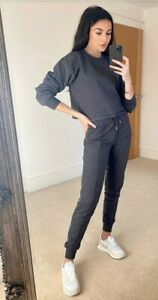 Michelle Keegan Raw Edge Sweater  & Crop Vest Set - Charcoal Size 12
