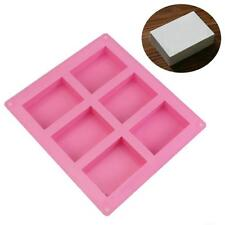 Mold 6 Cavity Soap Silicone Rectangle Mould Plain Homemade Craft Basic Cake DIY