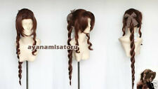 Final Fantasy VII Aerith Gainsborough Anime Cosplay Costume Wig +Free Ship +CAP