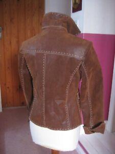 UNWORN Ladies brown real leather nubuck suede JACKET BLAZER UK 8 trucker western