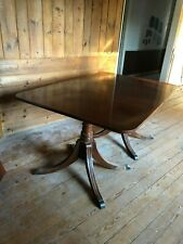 Vintage Double Pedestal Mahogany Dining Room Table with Two Leaves  No Reserve