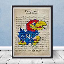 University of Kansas Jayhawks Fight Song Sheet Music Art Gift KU Basketball NCAA