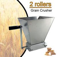 4L Homebrew Grain Mill Barley Grinder Malt Crusher 2 Roller W/ Hopper Stainless