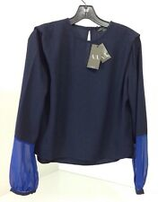 NWT A/X ARMANI EXCHANGE COLORBLOCK CREPE BLOUSE NAVY/ROYAL BLUE XS $100