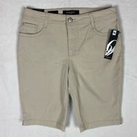 Nine West Womens Shorts Size 10 Stretch Lucie Bermuda Tan Notched Hems Casual