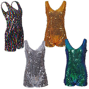 Sequin Playsuit One Piece Jumpsuit all in one Dance Rave Festival Fancy Dress