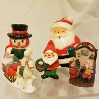 Christmas Decorations Mixed lot - Preowned Candles Ceramic Santa Snowman Sleigh