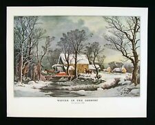 Currier & Ives Print -  Winter in the Country Old Grist Mill - Snow Horse Sleigh