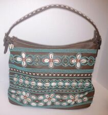 Isabella Fiore Brown Turquoise Orange  Beaded Shelled Leather Hand Bag Purse