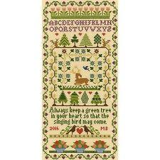 BOTHY THREADS GREEN TREE HISTORICAL SAMPLER CROSS STITCH KIT by MOIRA BLACKBURN