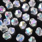 50pcs 6mm Bicone Faceted Crystal Glass Charms Loose Spacer Beads Finding Half AB