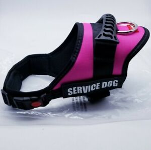 Service Dog Support Harness Vest M Pink Reflective D Ring Extra Patches