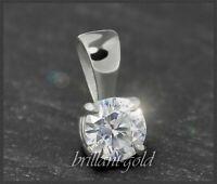 Diamant 585 Gold Brillant Solitär Anhänger 0,32ct, River, Si; 14 Karat Weißgold