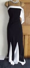 WALLIS Vintage ❤️Black White 1920's Deco Flapper Gatsby Downton Dress Size 16
