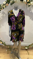 Influence Dress Size 12 & 18  Black Wrap Front Abstract Print Dress NEW GL68