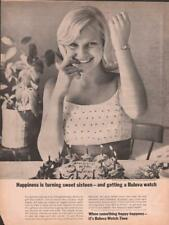 1964 Bulova PRINT AD Features the Golden Goddess Cute Sweet 16 Frame for Decor