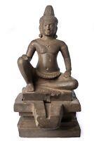 """Antique Bayon Style Seated Stone Shiva and Yoni Statue - 45cm/18"""""""