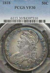 1818 50C PCGS VF30 TONED Capped Bust Half Dollar, Attractive Toning!