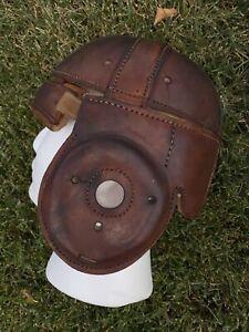 SPALDING Old Antique & RARE VINTAGE DOG EAR 1920's ALL Leather Football Helmet