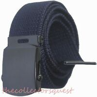 "NEW 1.5"" WIDE NAVY BLUE ADJUSTABLE 54"" CANVAS MILITARY WEB BELT BLACK BUCKLE"