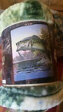 Large Mouth Trout American Heritage Woodland Royal Plush Raschel blanket