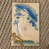 Birthday Greetings - Dove & Purple Floral Umbrella - Embossed Antique Postcard