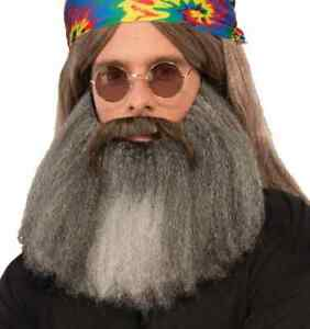 Hippie Moustache Beard 60's Generation Jerry Garcia Halloween Costume Accessory