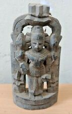 Antique Wooden Hindu God Vishnu Sculpture Ancient Figurine Statue Rare Doll Art