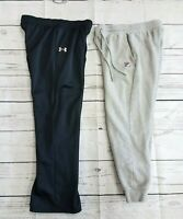 Lot Of 2 Under Armour Fila Athletic Pants Boys Youth XL Black Gray Joggers Track