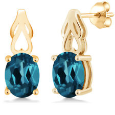 3.60 Ct Oval London Blue Topaz 18K Yellow Gold Plated Silver Earrings