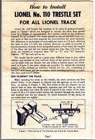 [54783] 1958 LIONEL TRAINS No. 110 TRESTLE SET OPERATING INSTRUCTIONS