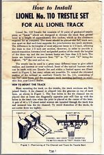 [54783] 1958 Lionel Trains No. 110 Trestle Set Operating Instructions