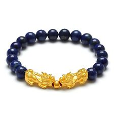 New Pure 24K Yellow Gold Bracelet 3D 19*9*8mm Lucky Pixiu 5mm Bead &Lapis Lazuli