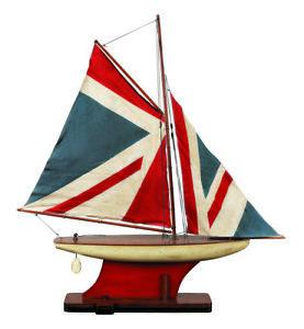 Authentic Models Union Jack Wooden Pound Yacht Sailing Boat 87cm