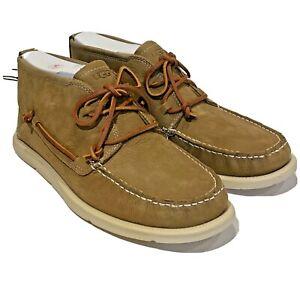UGG Mens Beach Moc Chukka Caramel Tan Brown Nubuck New Boat Shoe Ankle